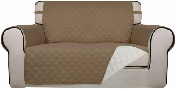 PureFit Reversible Quilted Slipcover Couch Cover Kids Dogs Pets LOVESEAT IVORY $29.95