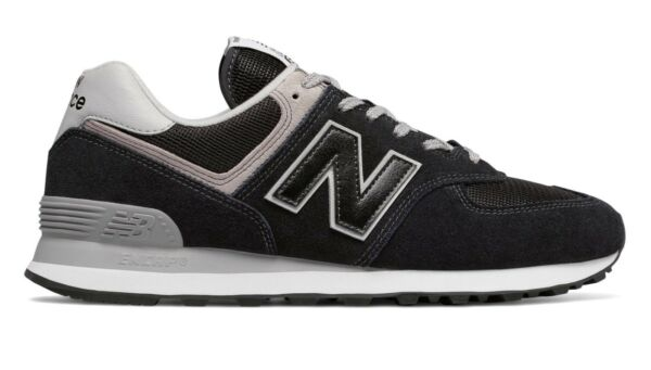 Men's New Balance ML574EGK Black/Grey Sizes 7.5 thru 12