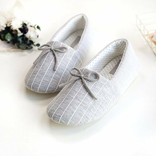 Women's Comfortable Cozy Cotton Pinstripe Memory Foam House Slippers $16.99