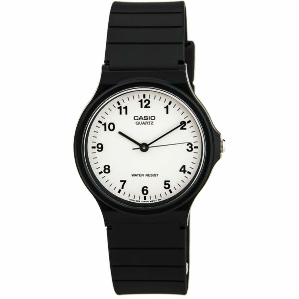 Casio MQ24-7B Men's Classic Casual White Dial Black Resin Strap Watch