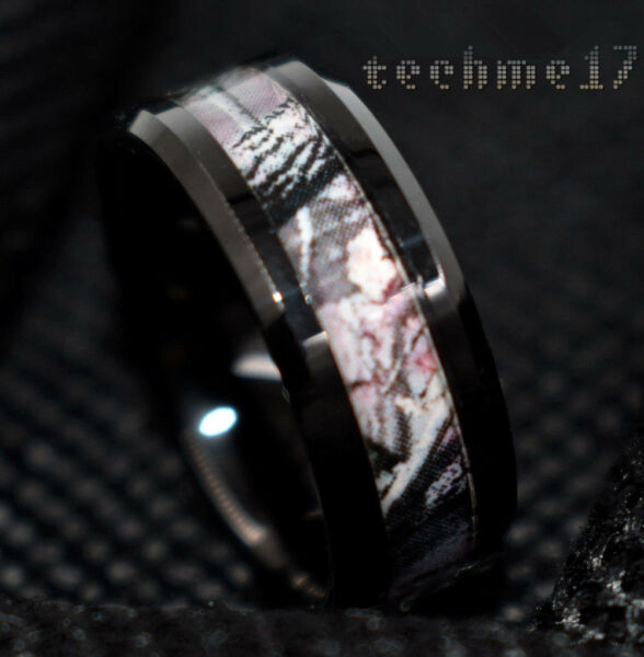 Black Tungsten Men's Red Forest Camouflage Camo Hunting Band Ring Size 6-13 USA