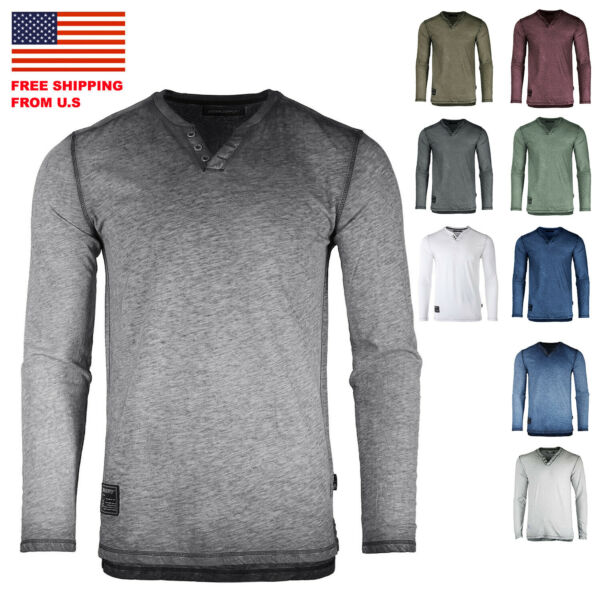Dream Supply ZIMEGO Mens Long Sleeve V-Neck Henley Oil Wash Vintage Shirt