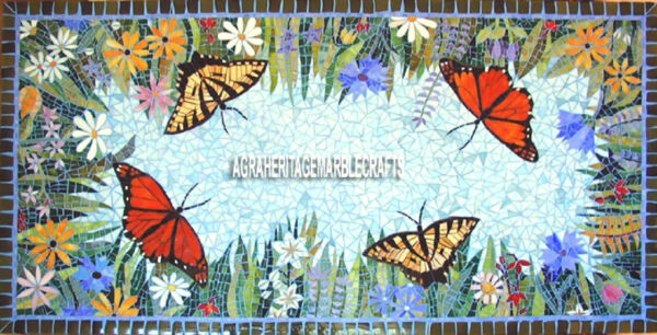 Butterfly Art Marble Dining Top Table Lapis Inlay Marquetry Art Home Decor H3821