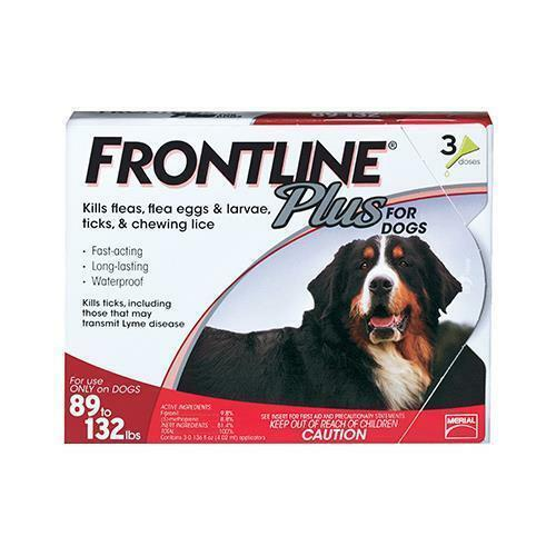 NEW Frontline Plus Flea And Tick Control For Dogs  89-132 Lbs - 3 Mo Supply