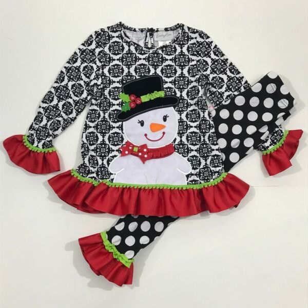 Emily Rose NWT 2T 4 5 7 8 Boutique Christmas Snowman Dress Top Legging Outfit