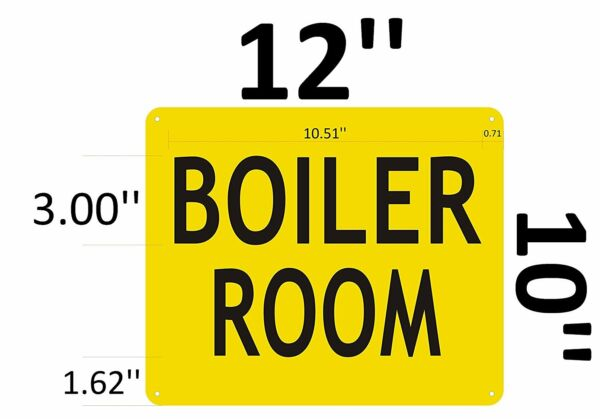 BOILER ROOM SIGN Yellow Aluminium Reflective Signs RED 10x12 $8.99