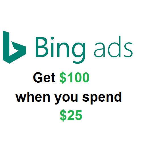 Bing Ads Promo code $100 when you spend $25 US ONLY New Accounts $6.99