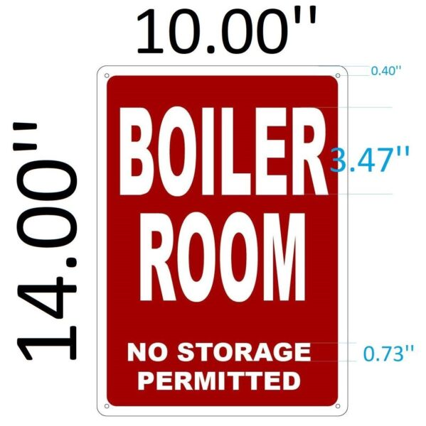 BOILER ROOM SIGN Aluminium Reflective Signs RED 10x14 $11.99