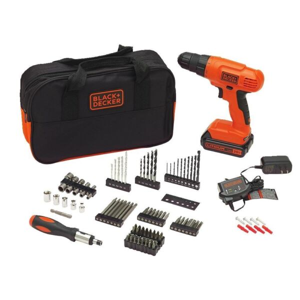 Drill Kit Power Tool Black Decker Screw with 100 Accessories Lithium Ion Battery