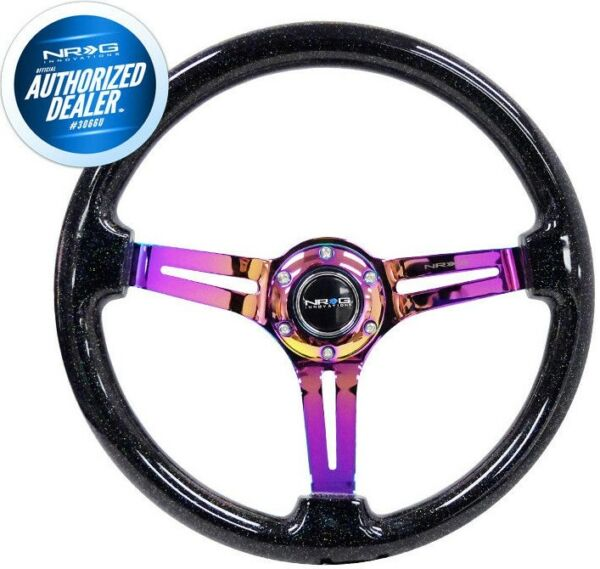 NEW NRG Steering Wheel Sparkle Wood Neochrome Spokes 350mm 3
