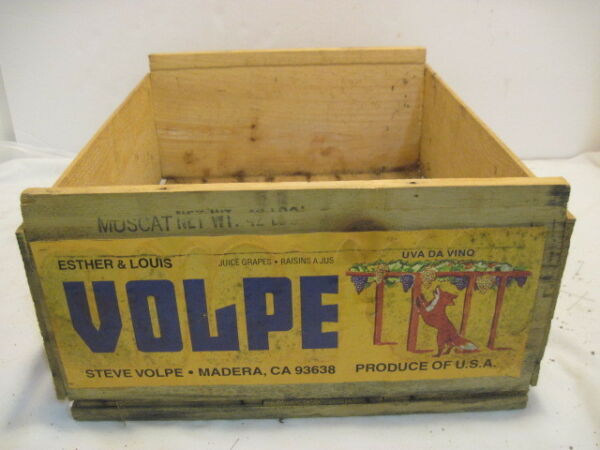 C VINTAGE WOOD-WOODEN VOLPE MUSCAT GRAPE PRODUCE CRATE BOX ADVERTISING