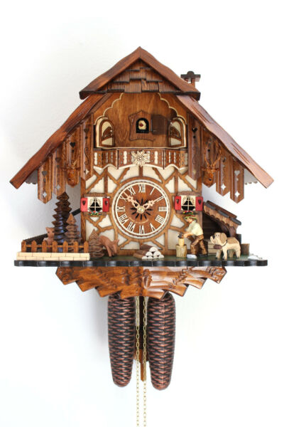 cuckoo clock black forest 8 day original german  wood chopper new