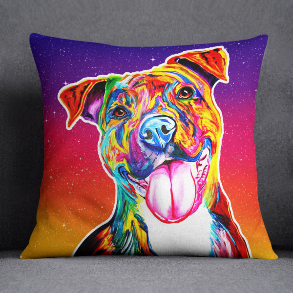 Cushion Square Pit Bull Smile Cute for Lovers Pitbull Sell Off 20%