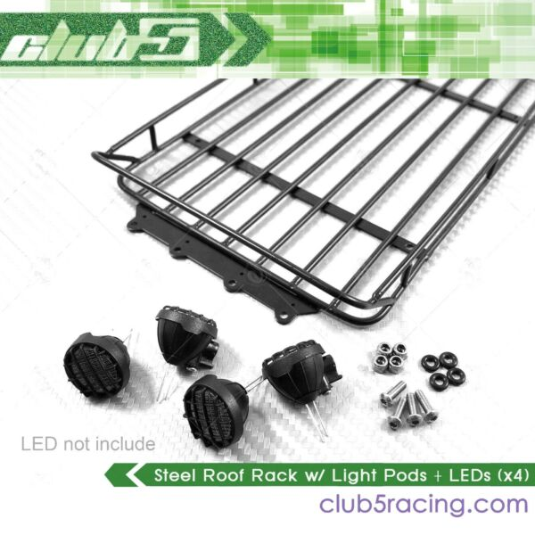 Steel Roof Rack w Light Pods + LEDs (x4) for TRX-4 Axial Redcat GEN8