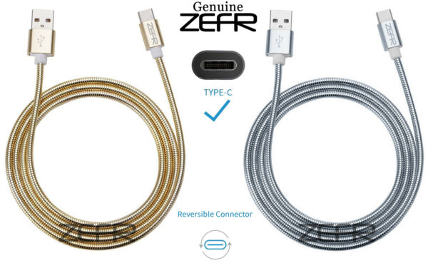 ZEFR ARMORED Steel USB C 2.0 (1m) Samsung S8 Google Apple LG Nintendo Switch