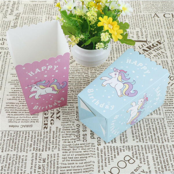 10pcs Unicorn Popcorn Boxes Happy Birthday Party Candy Box for kids Gifts