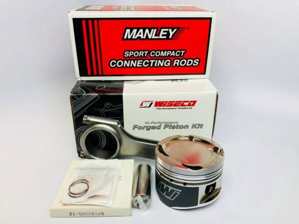 Wiseco Pistons Manley Rods for 02-11 Honda K24 with K20 Head 87mm 14.22:1