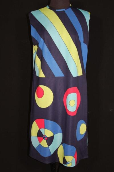RARE FRENCH VINTAGE 1970#x27;S 1980#x27;S COLORFUL MOD PRINT POLY KNIT DRESS SIZE 8 10