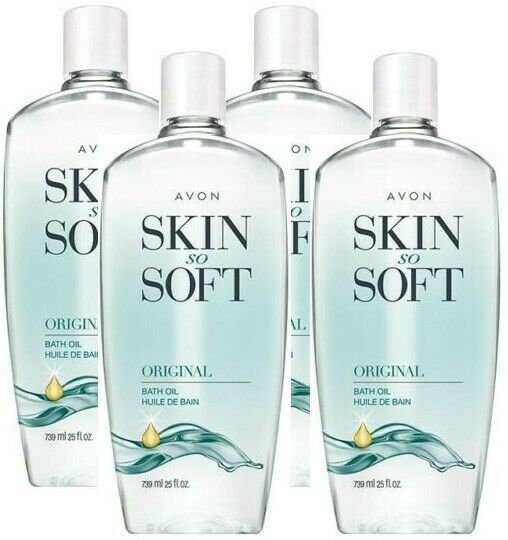4x Avon SKIN SO SOFT Original Jojoba Fresh Scented BATH OIL Moisturizer 25 oz