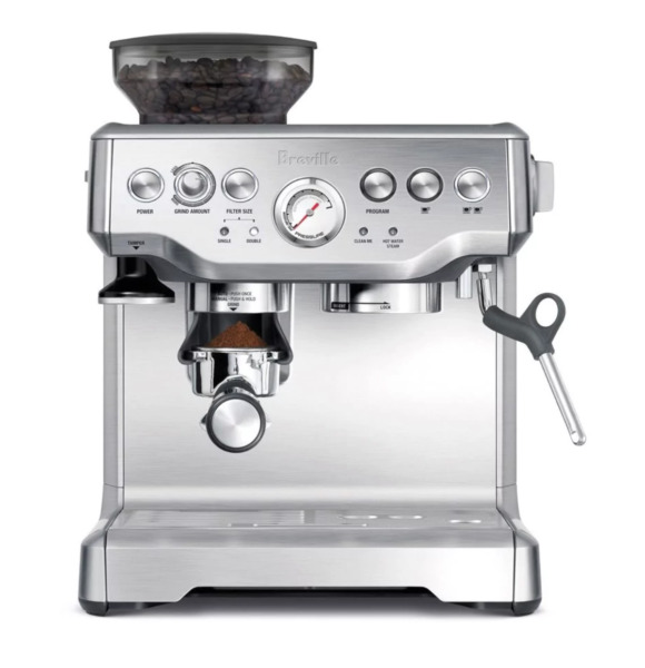 Breville Barista Express Automatic Espresso Machine Coffee Grinder Silver Finish