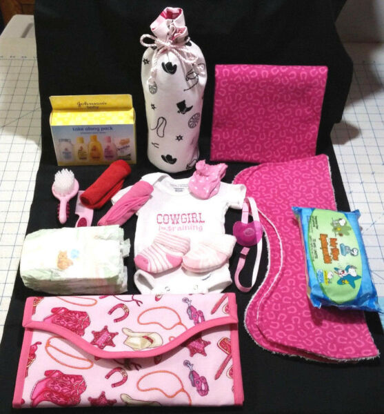 Western Theme Baby Girl Shower Diaper Bag Set w/tons of stuff for new mom
