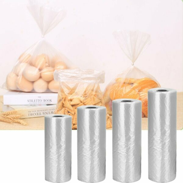 350 Bags  Roll Plastic Produce Clear Bag on Roll Kitchen Bread Fruit Vegetable