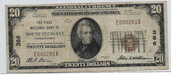 1929 Small Size Nationals $20 Mount Pleasant Pennsylvania #386