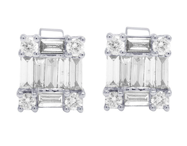 18K White Gold Genuine Diamond Baguette Unisex Stud Earrings 1 16 CT 9MM