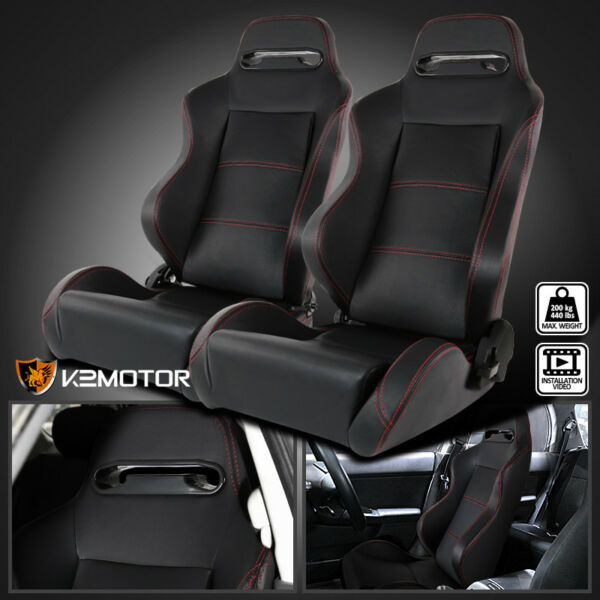 Reclinable Red Stitching Black PVC Leather Sport Racing Seats w/ Silders Pair