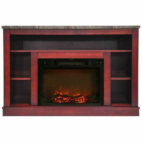 47 In. Electric Fireplace with a 1500W Log Insert and Cherry Mantel