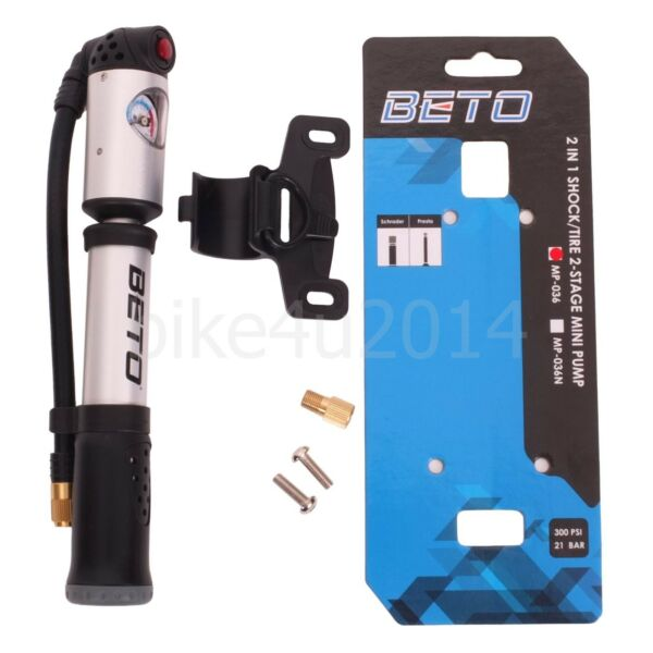 BETO 300 Psi High Pressure Bike Pump Shock 2in1 2 Stage Pumps Cycling Bicycle $25.88