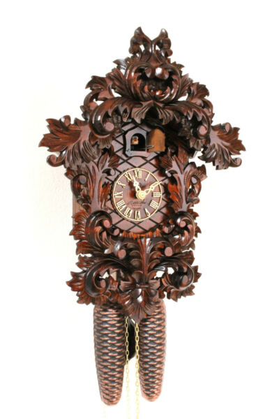 original cuckoo clock german black forest 8 day  wood  carved mechanical new