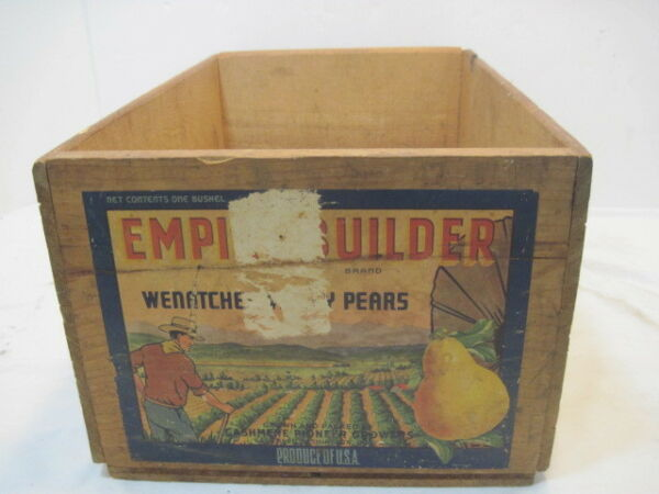 OLD WOOD-WOODEN EMPIRE BUILDER PEAR PRODUCE CRATE BOX ADVERTISING