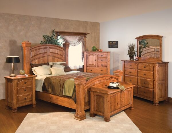 Luxury Amish Traditional Bedroom Set Solid Rustic Cherry Wood Queen King