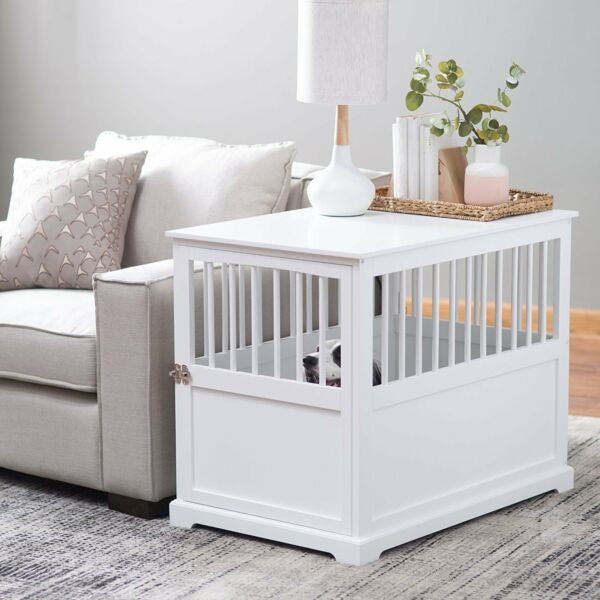 Indoor Wood Dog Pet Crate End Table White Living Room Bedroom Medium New