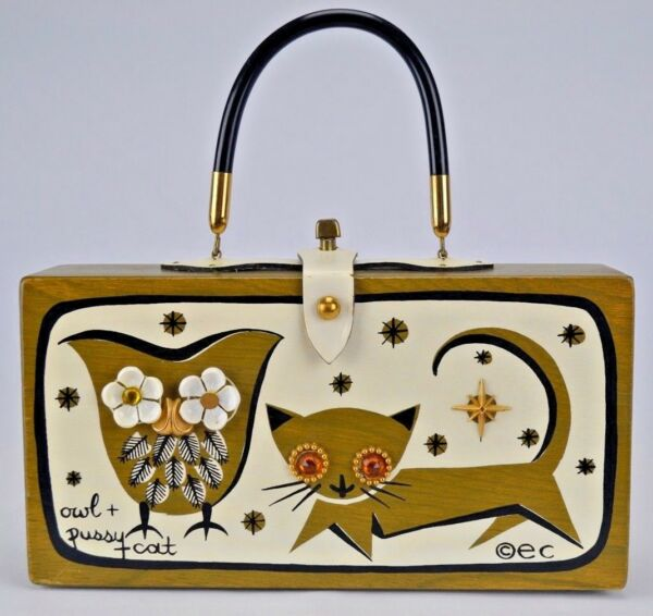 Enid Collins of Texas Wood Box Bag Purse Owl and Pussy Cat 1966 Vntg Bejeweled