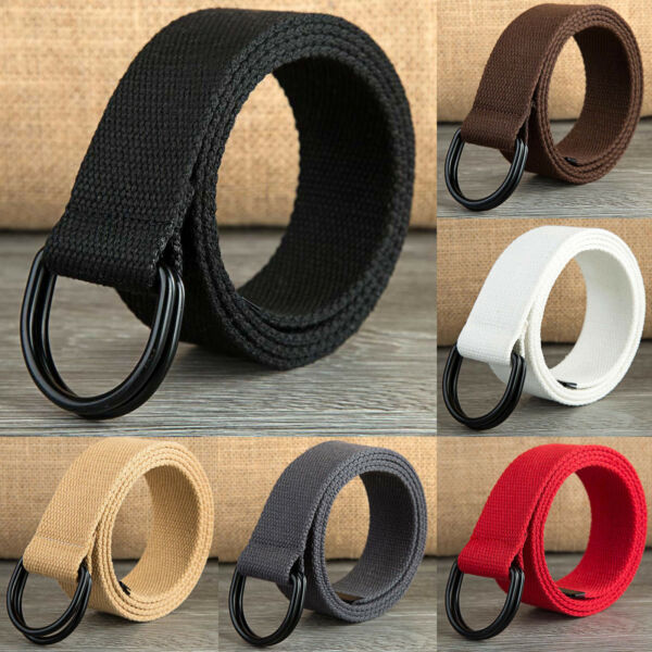 Unisex Casual Canvas Webbed Belt Double Ring Metal Buckle Large Size Available $7.95