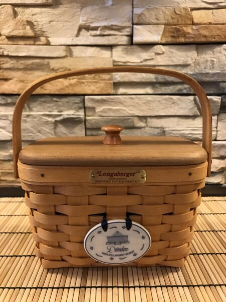 Longaberger Dresden Tour Basket II 1996 w ColWood Lid and Dresden Tie-On
