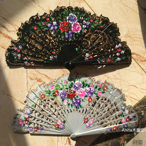 Anita Wood Fans Custom Dance Fans Hand Painted Spanish Style Fans Wedding Gift $21.84