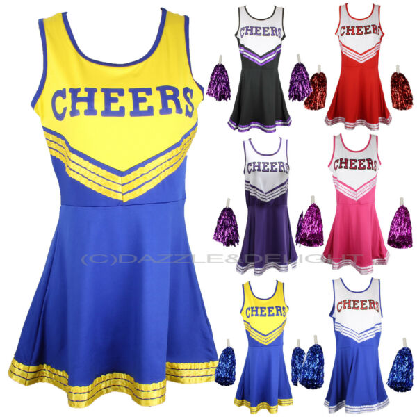 CHEERLEADER FANCY DRESS OUTFIT UNIFORM HIGH SCHOOL CHEER COSTUME WITH POM POMS GBP 8.85