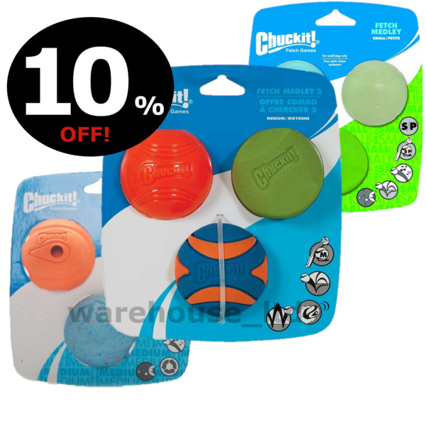 Chuckit! Fetch Medley 3 Pk Assorted Medium Small Balls 6.5cm Max Glow Whistle