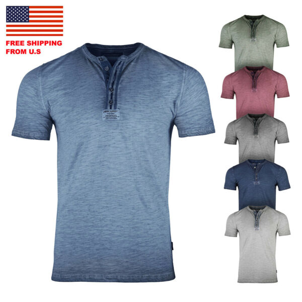 ZIMEGO Mens Short Sleeve Crew Neck Oil Wash Vintage Button Henley T-Shirt