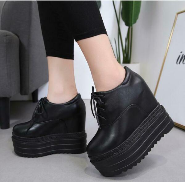 Hot Women Wedge Heel Lace Up High Platform Sneakers Casual Shoes Creepers Canvas