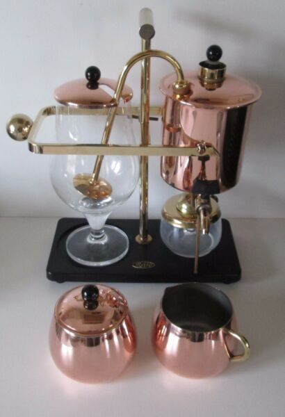 PERCO RETRO VINTAGE BALANCE COFFEE MAKER 0.6 LITRE COMP SET VGC COPPERBRASS