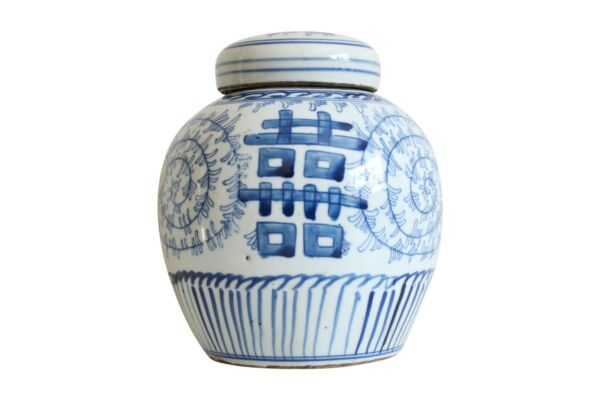 Blue and White Double Happiness Floral Porcelain Ginger Jar 6quot; $64.99