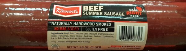 NEW-3 Pounds Klement's Beef Summer Sausage Log Great for Snack Giftor Party.