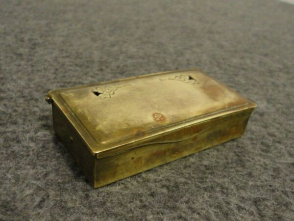ANTIQUE GES GESCH 3 SLOT BRASS STAMP BOX AUSTRIA - 3