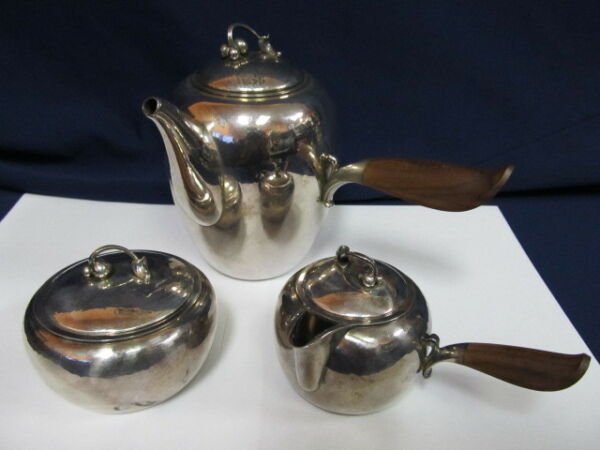 GEORG JENSEN & WENDEL AS # 875 STERLING VTG 3 PIECE COFFEE SET HAND HAMMERED