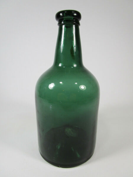 Antique vintage glass green teal bottle with applied lip
