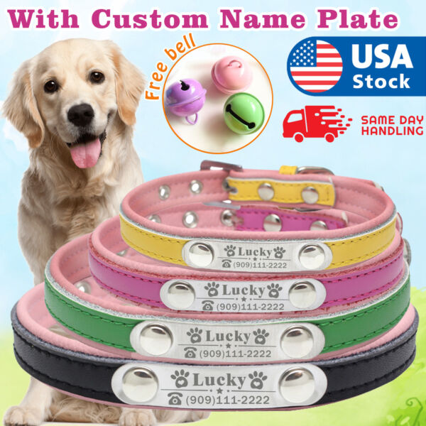 dog collar leather personalized with name plate Custom dog tags engraved ID tag $8.99